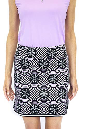 GOLFTINI Women's Stretch Golf Skort Activewear | Black & Purple | Pull On Golf Skort