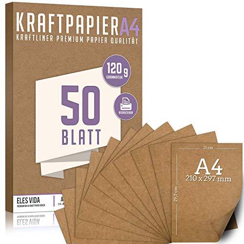 50 Blatt Kraftpapier A4 Set - 120 g - 21 x 29,7 cm - DIN Format - Bastelpapier & Naturkarton Pappe Blätter aus Kraftkarton zum Drucken, Kartonpapier Basteln für Vintage Hochzeit Geschenke Etiketten