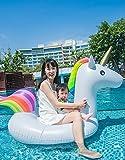 Mopoq Unicornio Tianma Donuts Water Flotante Fila Anillos de natación Sofás de Piscina con Asas Gruesas, Anillos de natación de Montaje Flotante Inflable para Adultos