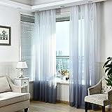 SIMPVALE 1 Pieza Cortinas de Gasa - degradados - Visillos Transparente - para Dormitorio, la Sala de Estar, balcón, Salon (Gris con Blanco, Ancho 250cm / Altura 260cm)