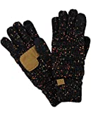 C.C Unisex Cable Knit Winter Warm Anti-Slip Touchscreen Texting Gloves, Confetti Black