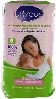 UNYQUE Compresas Maternidad de Algodon Puro 100% Hipoalergénicas - Previene Infecciones de la Sutura Posparto - Suavidad Extrema Super Acolchadas Desechables y Absorbentes - 12 Unidades