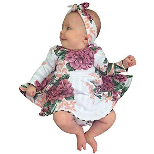Allence Kinder Baby Mädchen Kleidung Blume Gekräuselten Ärmel Party Hochzeit Prinzessin Kleider +1PC Haarband Set Zweiteiliger Anzug