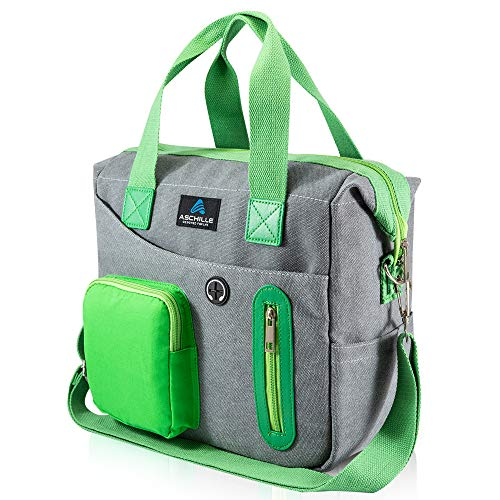 Aschille Insulated Lunch Bag for Men and Women with Removable Shoulder Strap. Multi-functional Reusable Large Cooler and Thermal Tote Bag for Work, Picnics and Snacks.