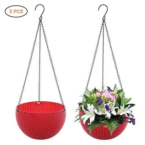 EisEyen 2 stuks manden bloemenampel breihouder set haak hanglampjes hangplantenpot grijs/wit/rood/blauw/bruin