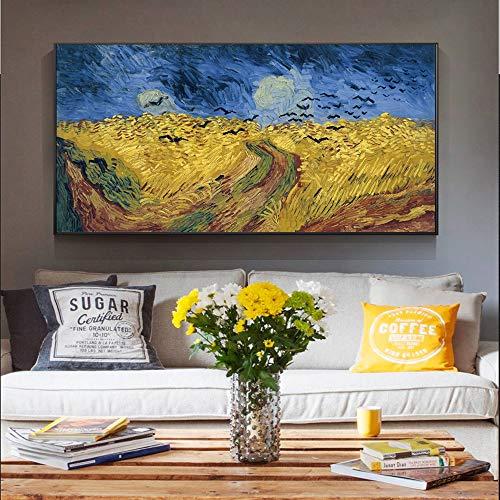 Zangtang tarweveld en kraaien wereldberoemde productwandkunst canvasschilderij landschapsdecoratie frameloos schilderwerk