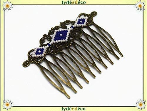 Peine japonés diamantes perlas blanco azul accesorio
