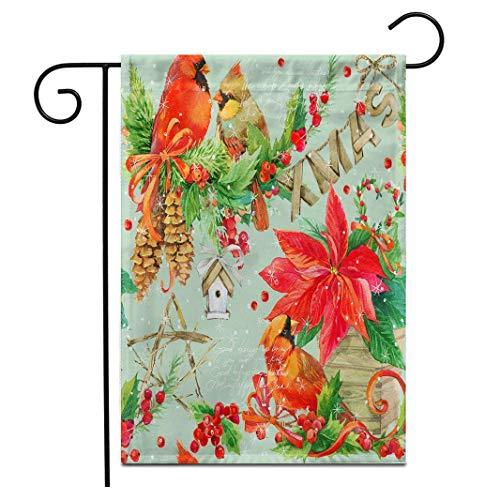 Lplpol Gartenflagge mit niedlichem Wasserfarben-Motiv, Weihnachtsjahr, beerenbraun, rot, für den Außenbereich, doppelseitig, dekorativ, 30,5 x 45,7 cm