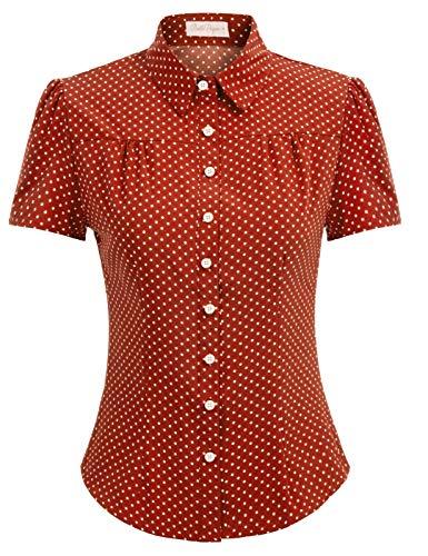 Belle Poque Blusa Naranja Mujer Blusas y Camisas de Mujer Invierno para Trabajo Oficina Dama BP0870-6 XXL