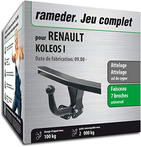 Rameder Pack, attelage démontable avec Outil + Faisceau 7 Broches Compatible avec Renault KOLEOS I (143853-06735-1-FR).