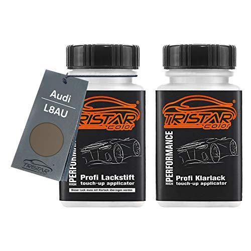 TRISTARcolor Autolack Lackstift Set für Audi L8AU Granit Metallic/Titan Metallic Basislack Klarlack je 50ml