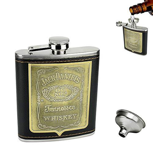 FAVENGO Fiaschetta Tascabile con Tappo a Vite Fiaschetta Liquore Fiaschetta Acciaio Inox con Incisione 7 oz Boccetta dell'anca Fiaschetta Portatile per Whisky con Imbuto per Whisky Escursione Viaggio