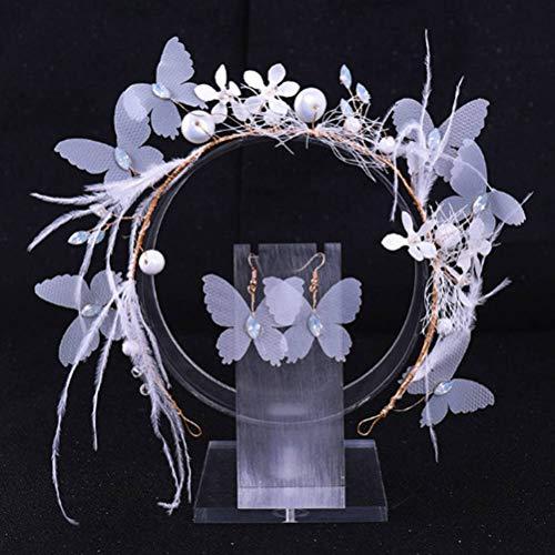 Ihairband Diadema de Cristal, Mariposa Azul Blanco Perla Pluma Rhinestone Secador De...