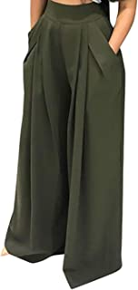 Plus Size Wide Leg Pleated Palazzo Pants for Women - Loose Belted High Waist