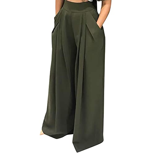 673767a09ff SHINFY Plus Size Wide Leg Pleated Palazzo Pants for Women - Loose Belted  High Waist