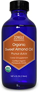 Zongle USDA Certified Organic Sweet Almond Oil, Safe To Ingest, Unrefined Virgin, Cold Pressed, Prunus Dulcis, 4 OZ