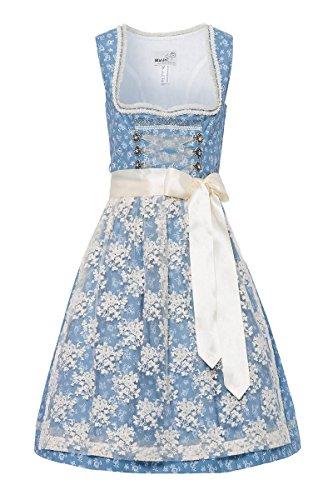 MarJo Damen Mini Dirndl 60er hellblau geblümt Creme Edite 003179, Größe 36