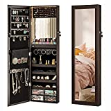 LUXFURNI Mirror Jewelry Cabinet 79 LED Lights Wall-Mount/Door-Hanging Armoire, Lockable Storage Organizer w/ Drawers