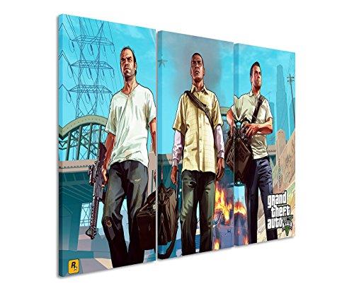 Leinwandbild 3 teilig Grand_Theft_Auto_V_3x90x40cm (Gesamt 120x90cm) _Ausführung schöner Kunstdruck auf echter Leinwand als Wandbild auf Keilrahmen