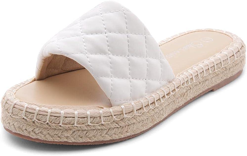 Shoe Land Narina Women's Open Toe Espadrille Slides Casual Quilted Single Band Slip on Platform Wedge Sandals