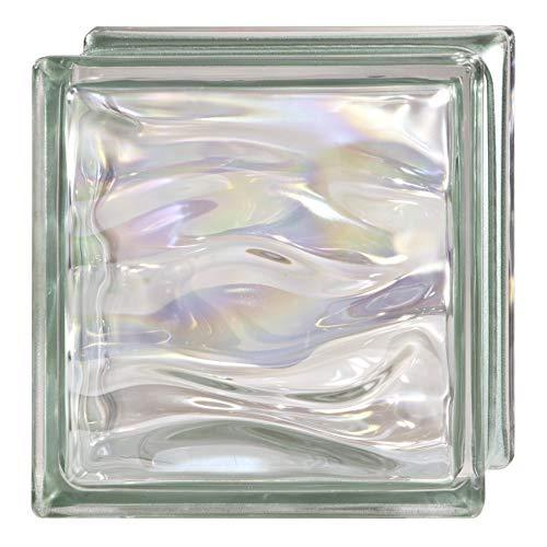 6 Piezas Bloque de vidrio Bormioli Rocco colección Agua Perla Verde | cm 19x19x8 | Unidad de venta 1 caja de 6 pzas