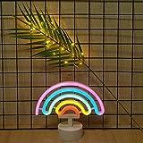 ベースかわいいカラフルなネオンレインボーレインボーネオンライトサインライトバッテリーやキッズルームリビングルームお祝いのパーティーウェディングパーティー用の装飾としてレインボー屋内ナイトライト