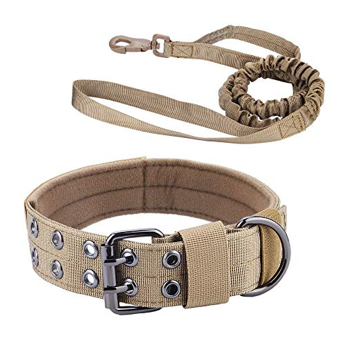 chede Military Adjustable Dog Collar and Bungee Dog Leash Set,with D-Ring & Buckle for Medium Large Dogs (L, Coyote Brown)