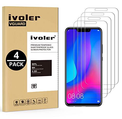 ivoler [4 Stücke] Panzerglas Schutzfolie für Huawei P Smart+ / Huawei P Smart Plus, 9H Härte, Anti- Kratzer, Bläschenfrei, [2.5D Runde Kante]