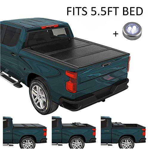 CARMOCAR Hard Tri-Fold Tonneau Cover | 5.5FT Short Bed | Pickup Truck Bed Covers for Nissan Titan...