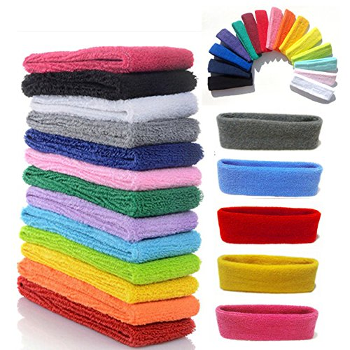 Yeshan 12 Packs Wicking Stretchy Athletic Sweatband/Sport Headbands/Head wrap/Yoga Headband/Head Scarf/Best Looking Hairband for Sports or Fashion,Towel material