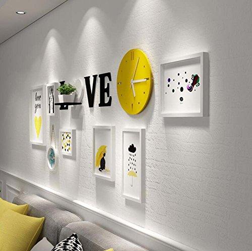 Foto+rekken Combinatie Woonkamer/slaapkamer Versierd Schilderij, Creatieve Muur Opknoping Effen Hout Frame,7 Beeld Frame+Gele Wandklok+acryl Letters Muursticker+Plank (Zonder ornamenten)