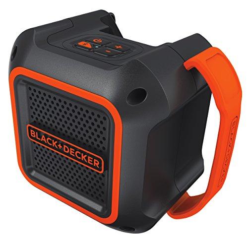 Black+Decker Bluetooth-Lautsprecher (Verbindungsanzeige, 4-Knopf-Bedienfeld, 18V, 3,5 mm Aux-Anschluss, 30 m Reichweite, 100 mm Durchmesser, flexibler Gummigriff, ohne Akku und Ladegerät) BDCSP18N