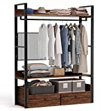 Tribesigns Free-Standing Closet Organizer,Heavy Duty Clothes Rack with Shelves,Hanging Rod and Drawers, Large Closet Storage Stytem& Closet Garment Shelves, Rustic Brown