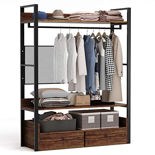 Tribesigns Free-Standing Closet OrganizerHeavy Duty Clothes Rack with ShelvesHanging Rod and Drawers Large Closet Storage Stytem& Closet Garment Shelves Rustic Brown