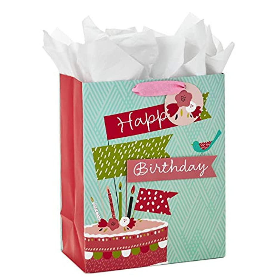 Hallmark Large Birthday Gift Bag with Tissue Paper (Birthday Cake Flag)