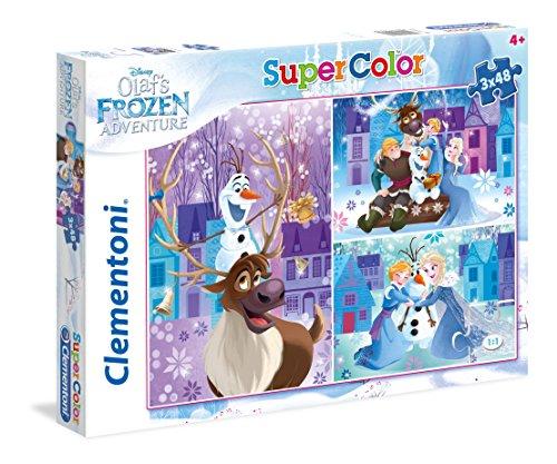 Clementoni- Olaf's Adventure Supercolor Puzzle, 3 X 48 Pezzi, 25228
