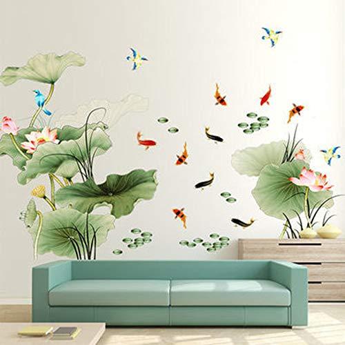 ZIUKENR - Adhesivo decorativo para pared, diseño de hoja de loto de loto y sala de estar, PVC, decoración de pared