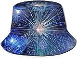 DUTRIX Sombrero de Cubo con Estampado de pirotecnia de año Nuevo, Gorra de Pesca para Pescador, para Viajes de Mujer