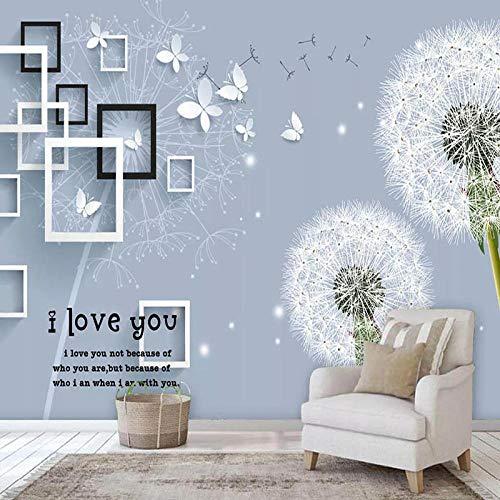 Papel tapiz 3D moderno diente de león marco cuadrado mariposa foto murales de pared sala de estar TV estudio decoración del hogar papeles de pared para paredes 3D