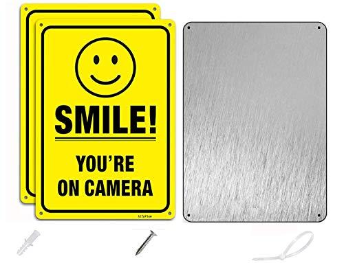 Smile Youre On Camera, AlfaView videoövervakningsskylt CCTV säkerhetskamera, 25 x 18 cm rostfri 0,40 aluminium blekningsbeständig UV-skyddad och reflekterande för inomhus utomhus hem företag (2-pack)