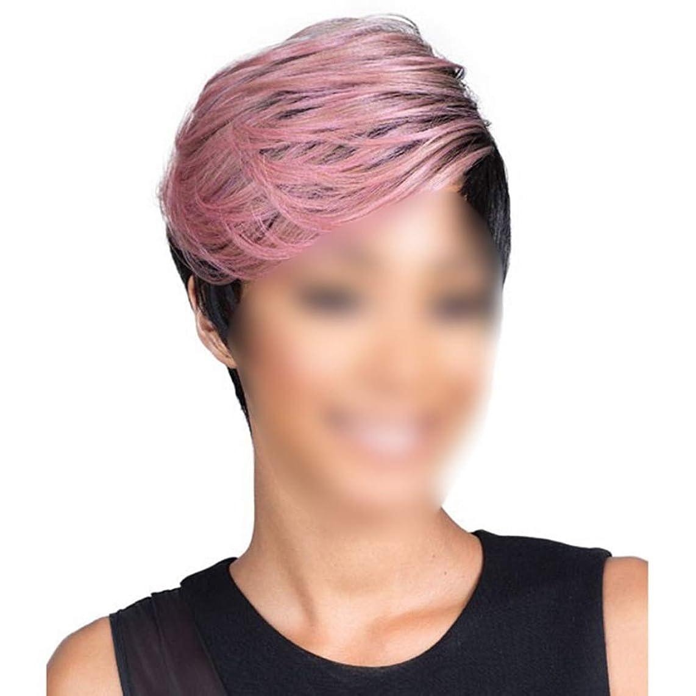 印象的な声を出してイルYrattary 女性のショートストレートヘアボブウィッグ黒ハイライトピンクのふわふわファッションウィッグコスプレパーティードレス女性の合成かつらレースかつらロールプレイングかつら (色 : Photo Color)