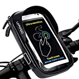 <span class='highlight'><span class='highlight'>LEMEGO</span></span> Waterproof Bike Handlebar Phone Holder Pouch Bag, Universal Bicycle Rear Pouch with Water Resistant Frame Transparent Touchable Pouch Case 360 Degrees Rotatable For Under 6 Inchs Smartphone