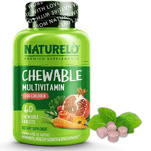 NATURELO Chewable Multivitamin for Children - with Natural Vitamins & Minerals, Whole Food Extracts, Organic Fruit - Vegan, Vegetarian Supplement for Kids - 60 Tablets