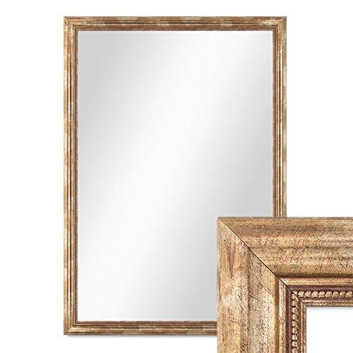 PHOTOLINI Wand-Spiegel 80x110 cm im Massivholz-Rahmen Barock-Stil Antik Gold/Spiegelfläche 70x100 cm