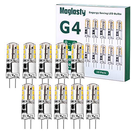 G4 LED 1.5W Lampen, 10 Packs 12V AC/DC Warmweiß Led Birnen Stiftsockel 150LM Warmweiß 3000K, G4 Glühlampe ersetzt 20W Halogenlampen Wärmeableitend Nicht Dimmbar Kein Flackern [Energieklasse A+]
