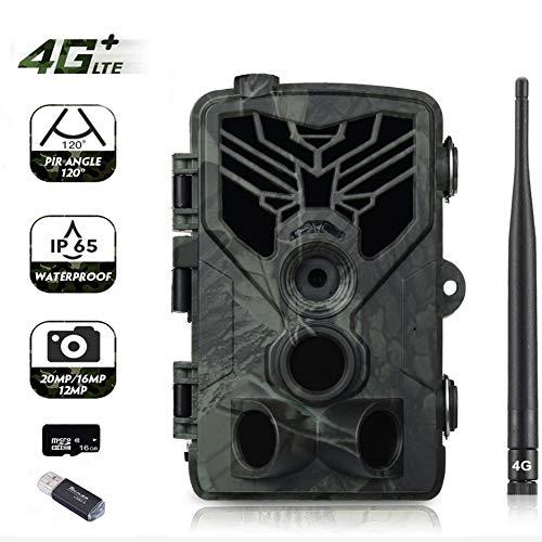 Suntek 4G Wildkamera Mit Bewegungsmelder Nachtsicht HandyüBertragung 20MP 1080P Full HD Jagdkamera mit 20M 120° Weitwinkel 44 IR-LEDs Überwachungskamera Mit IP65 Wasserdicht