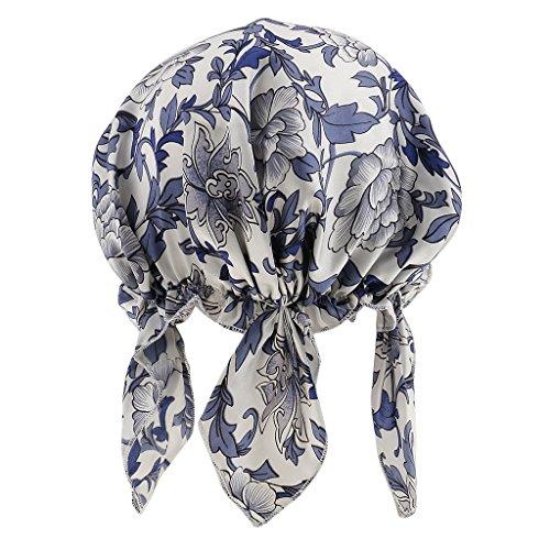 Prettyia Seide Schlafmütze Nachtkappe Nachtmütze Haarschutz und Haarpflege Komfort Kopfbedeckung - Blau