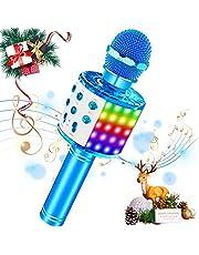 SaponinTree Karaoke mikrofon, bluetooth mikrofon med inspelning, dynamisk ljus trådlös bärbar handhållen mikrofon med högtalare för vuxna och barn, kompatibel med Android IOS PC (blå).