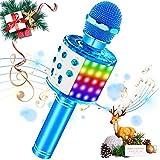 SaponinTree Microfono Inalámbrico Karaoke, Micrófono Karaoke Bluetooth Portátil con Altavoz con Luces de Baile LED para Niños Canta Partido Musica Reproductor