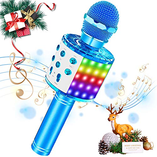 SaponinTree Microfono Karaoke Bluetooth Portatile, Microfono Bluetooth con Luce LED Altoparlante Funzione di Registrazione, Portatile per Bambini per Casa KTV Esterno Festa (blu)